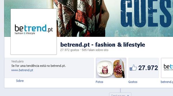 Link para o site na página do Facebook